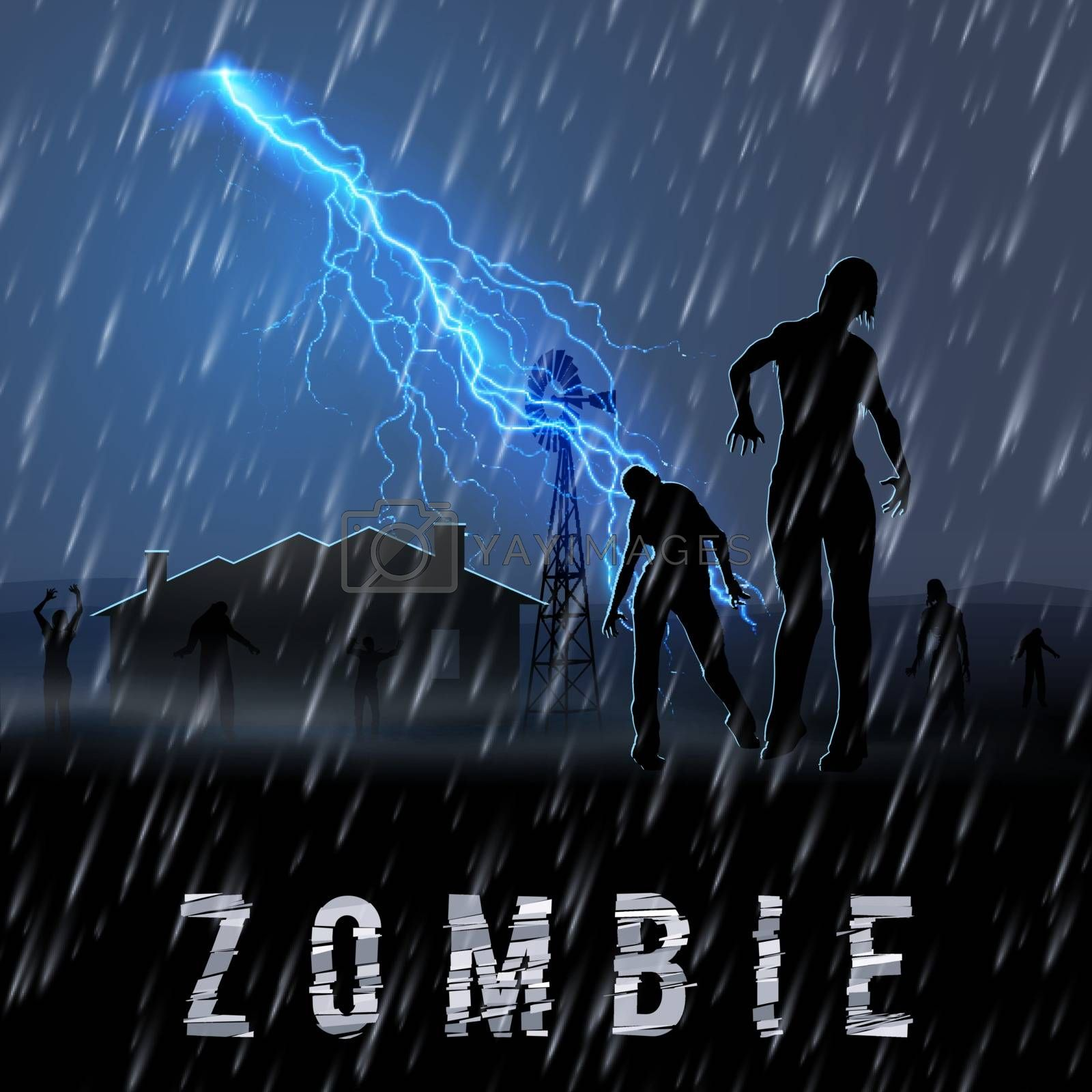 Zombie Walking out From Abandoned House at Night in a Rainy Weather