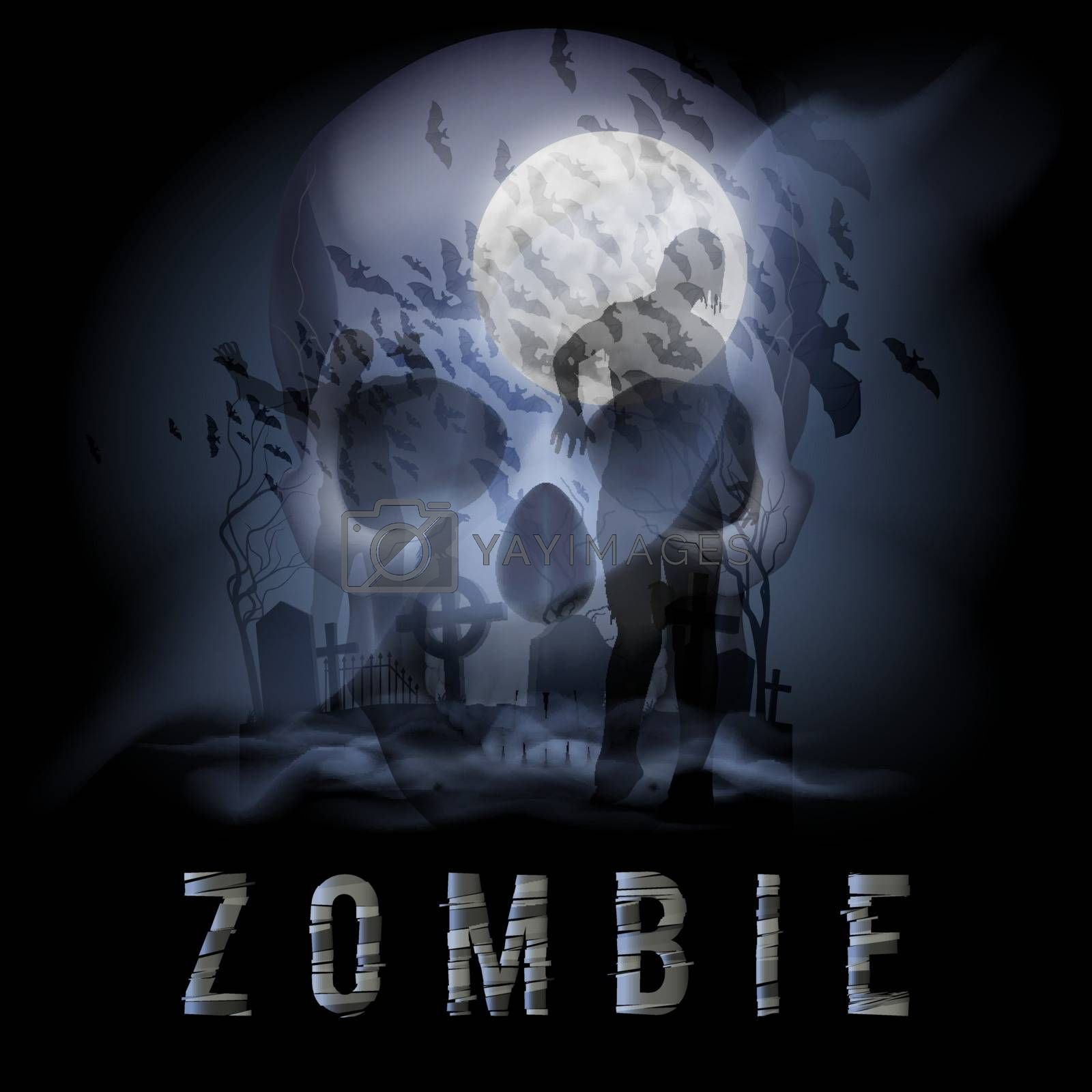 Halloween Background with Skull, Zombie on a Full Moon