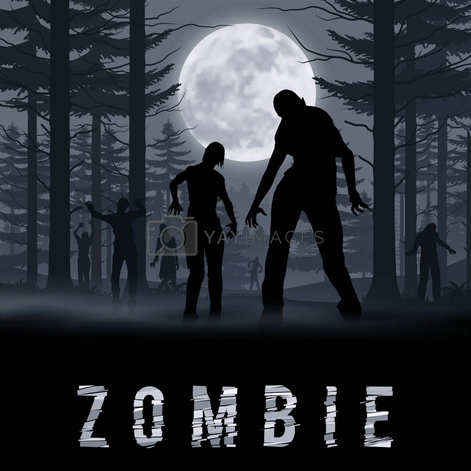 Zombie Walking out From Night Forest. Silhouettes Illustration for Halloween Poster
