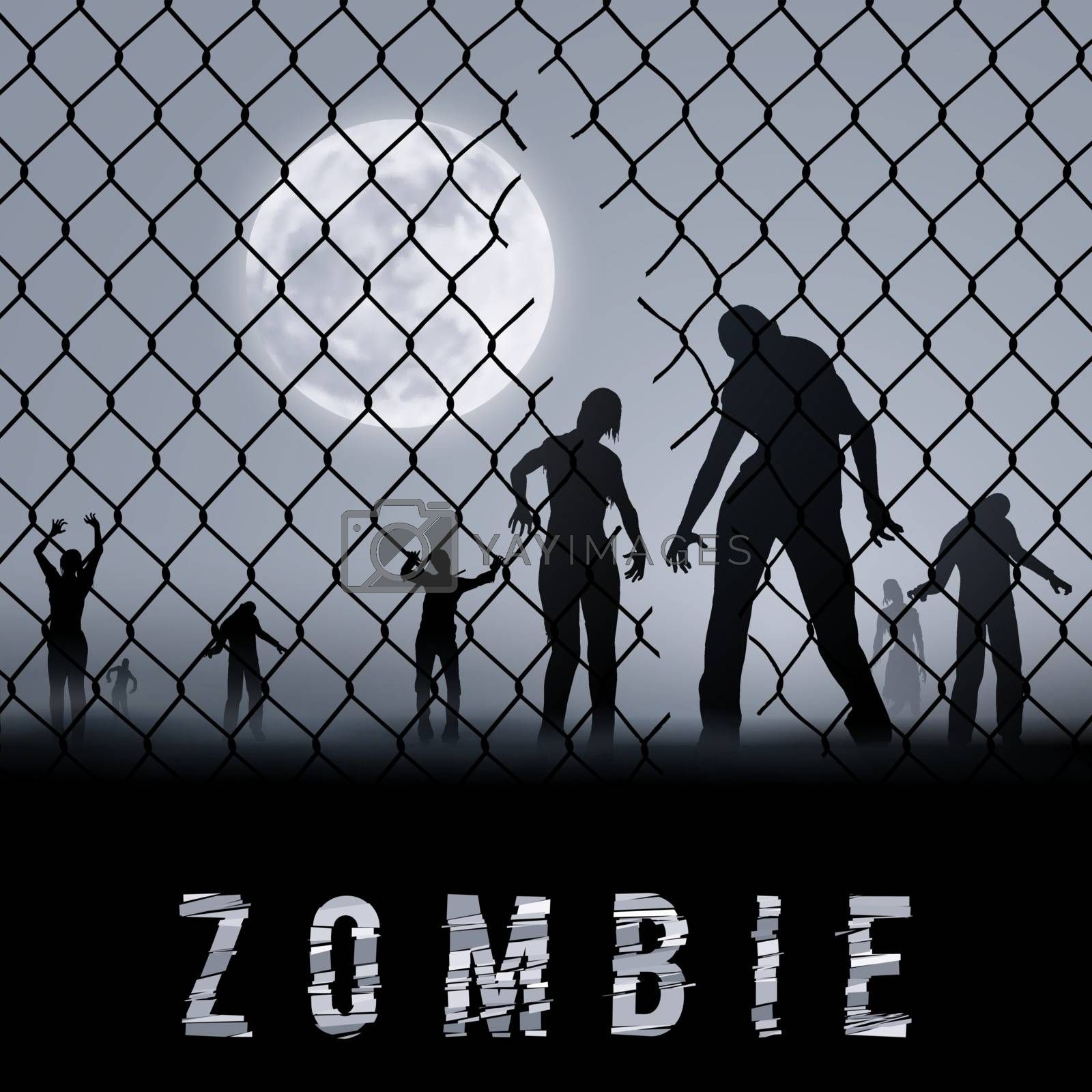 Zombie Walking at Night. Silhouettes Illustration for Halloween Poster
