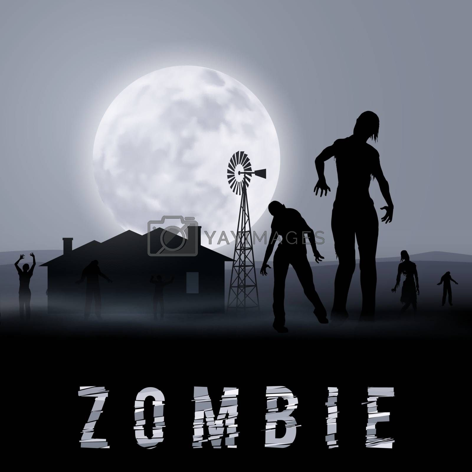 Zombie Walking out From Abandoned House at Night. Silhouettes Illustration for Halloween Poster