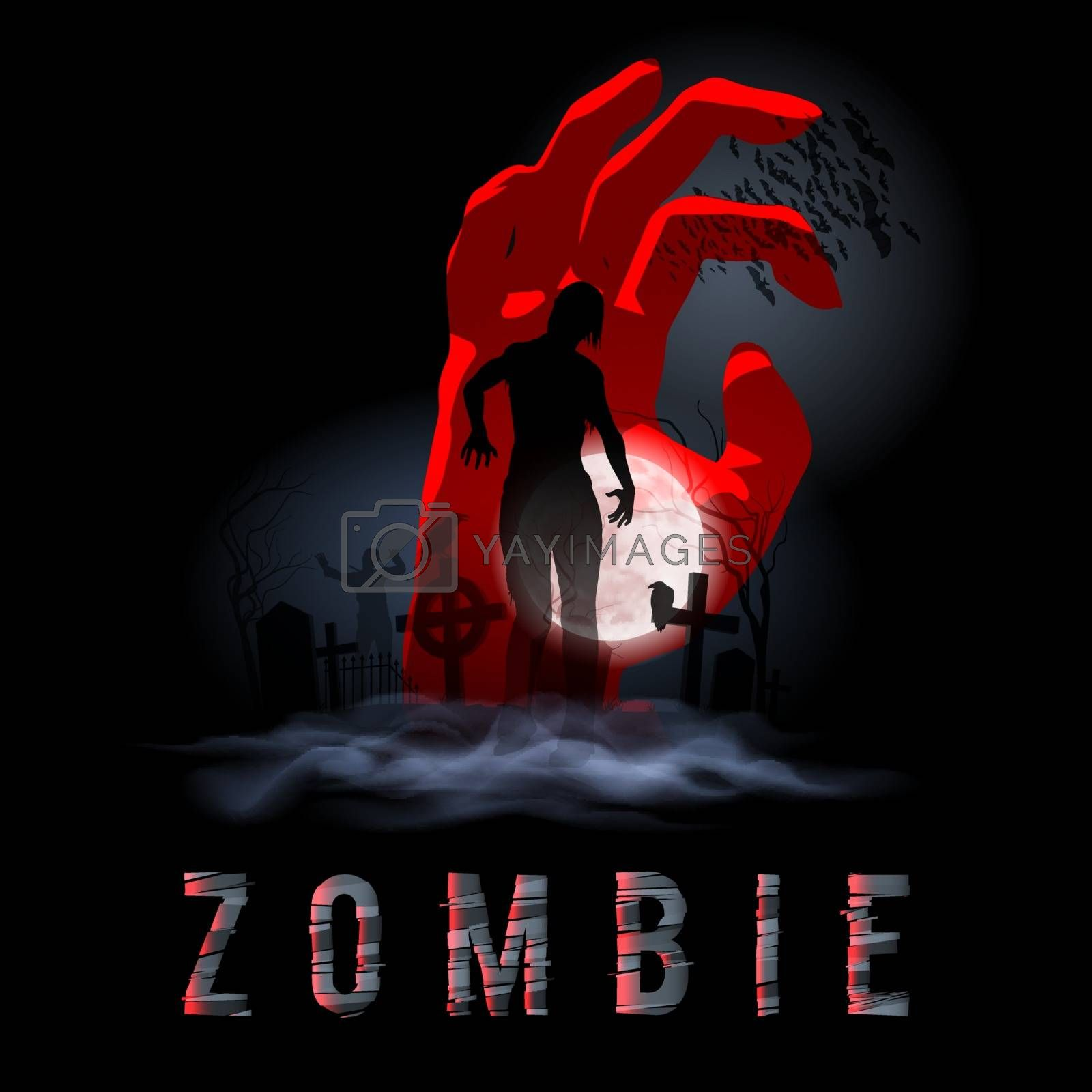 Zombie Walking out from Grave. Silhouettes Illustration for Halloween Poster