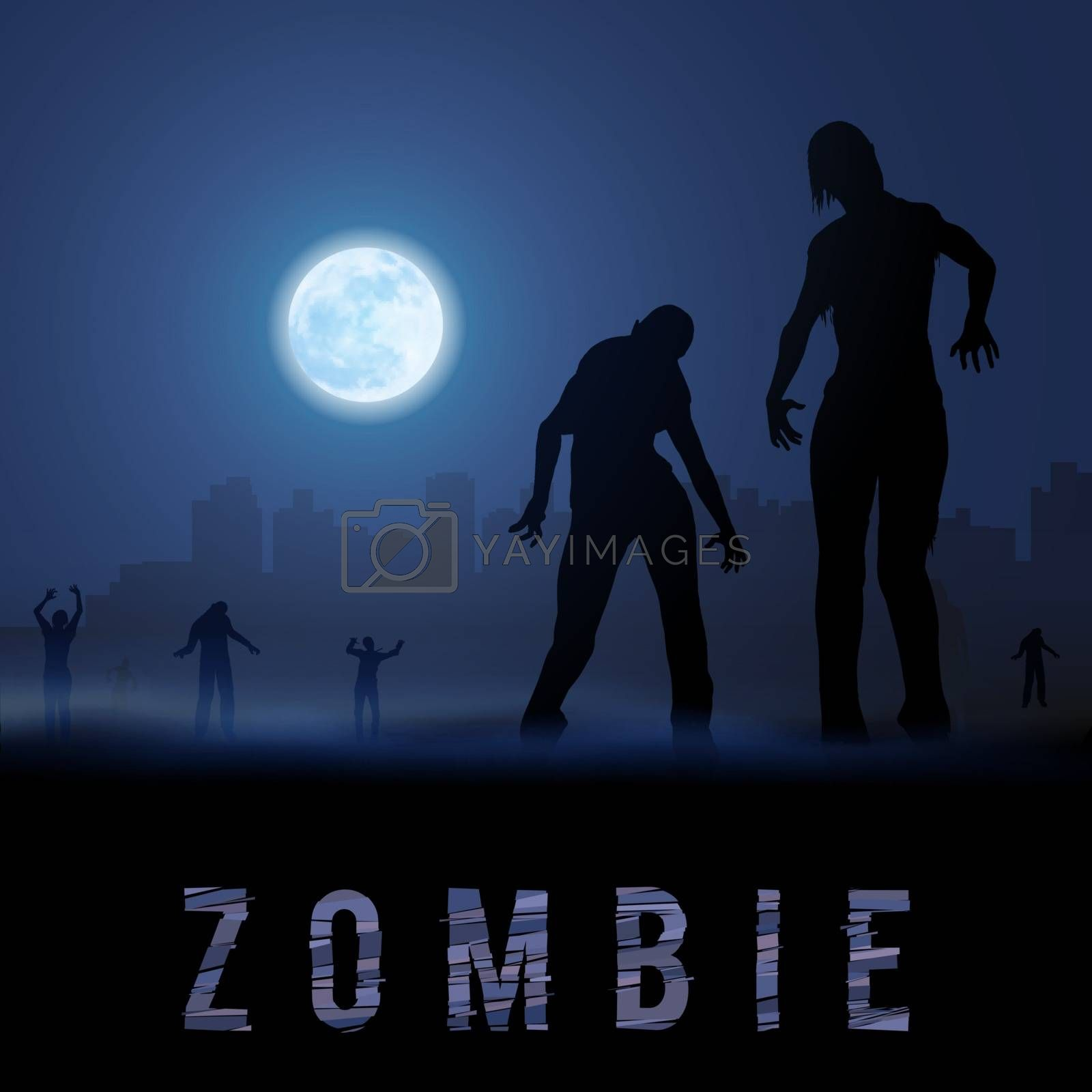 Zombie Walking out From Abandoned City at Night on a Full Moon