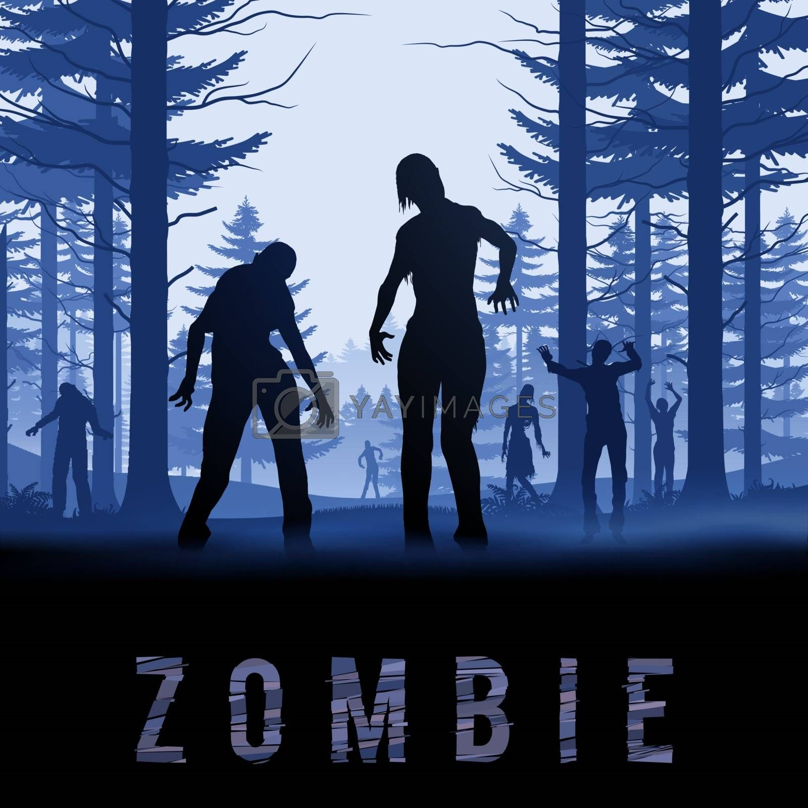 Zombie Walking out From Morning Forest. Silhouettes Illustration for Halloween Poster