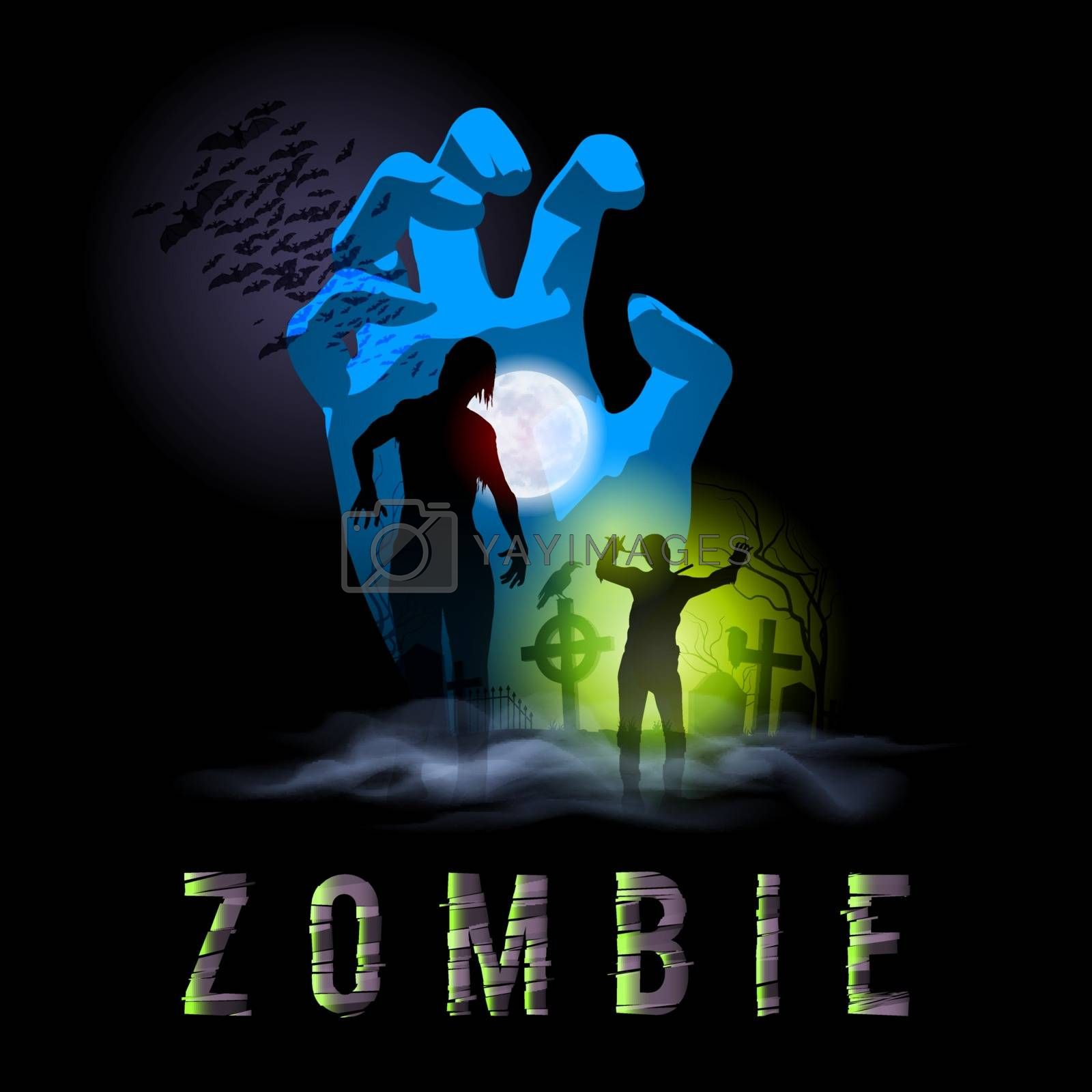 Zombie Walking Silhouettes out from Grave. Illustration for Halloween Poster