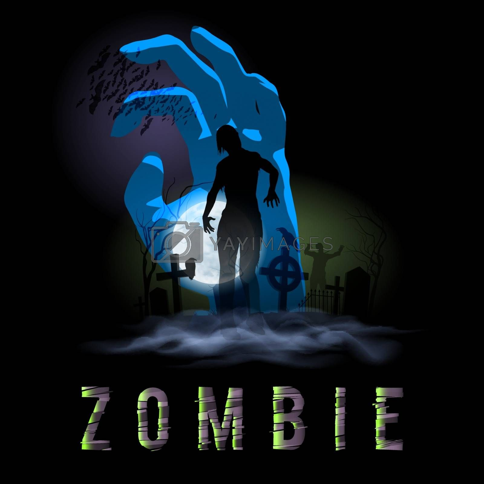 Zombie Walking out from Grave. Halloween Poster