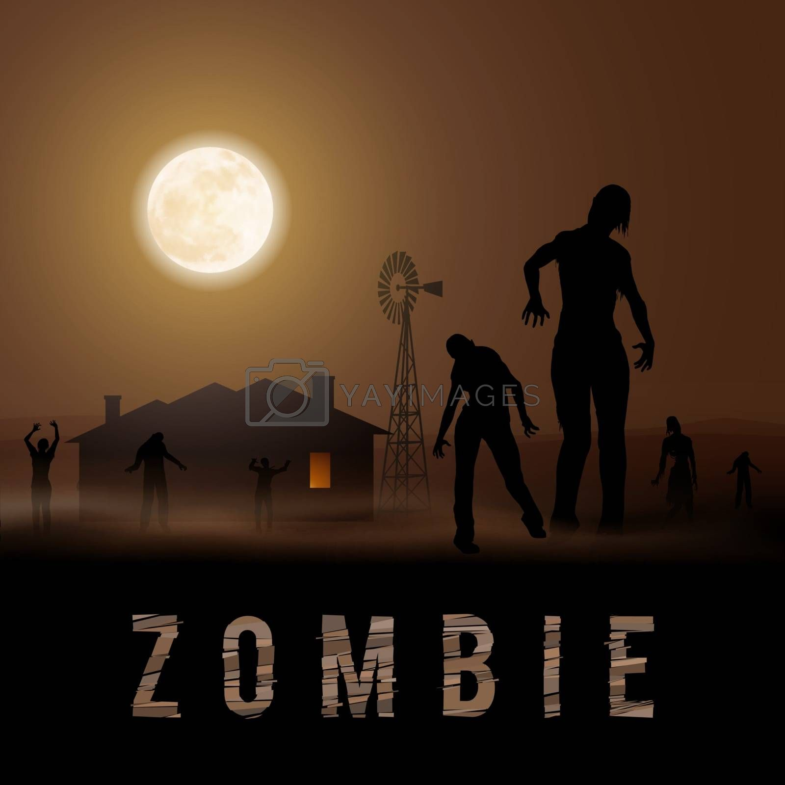 Zombie Walking out From House. Silhouettes Illustration for Halloween Poster