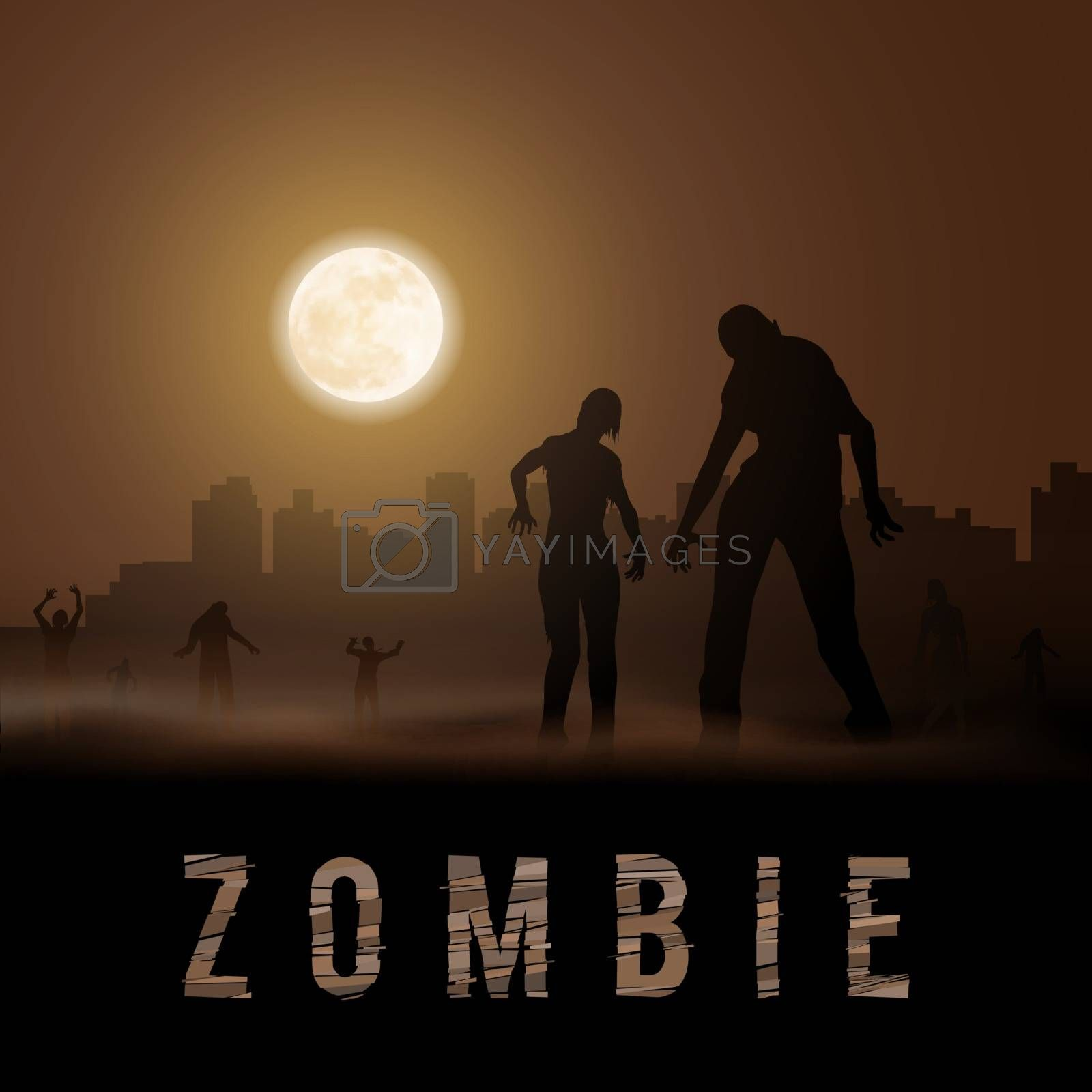 Zombie Walking out From Abandoned City. Silhouettes Illustration for Halloween Poster
