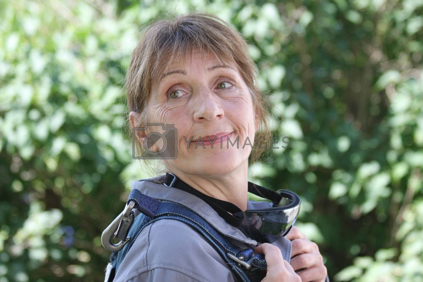 Portrait of aged woman before her first skydive