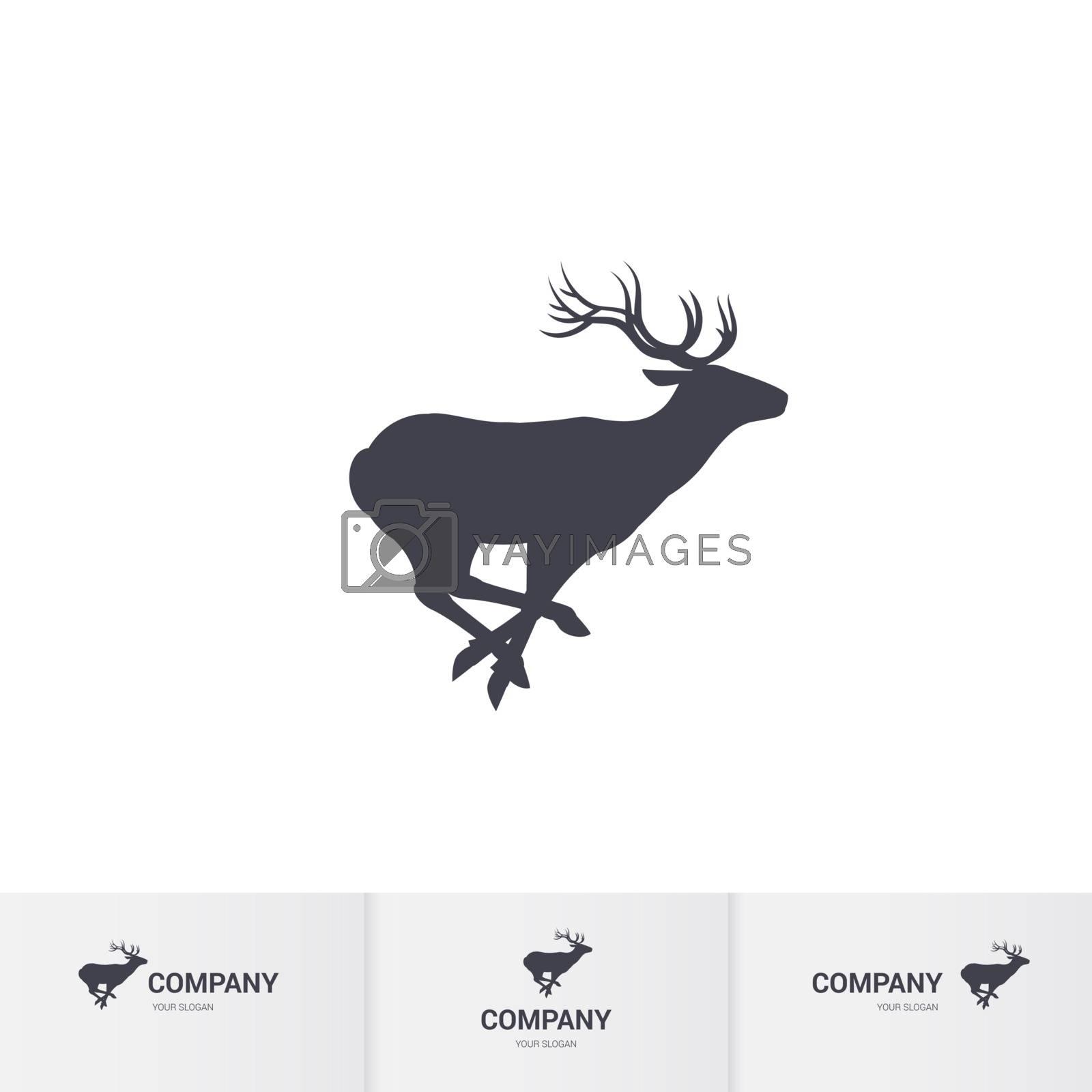Running Horned Deer Silhouette for Logo Template