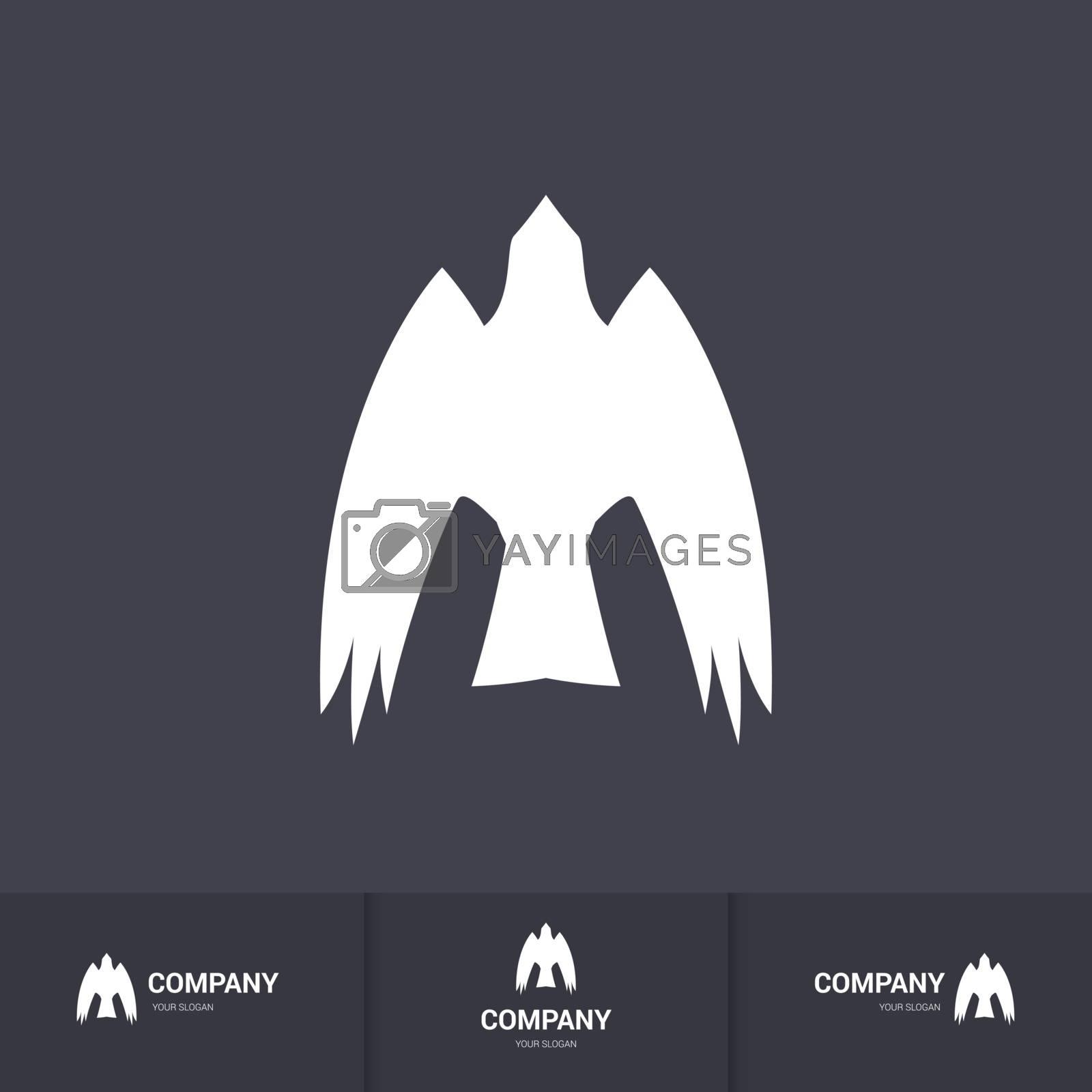 Stylized White Bird of Prey for Mascot Logo Template on Dark