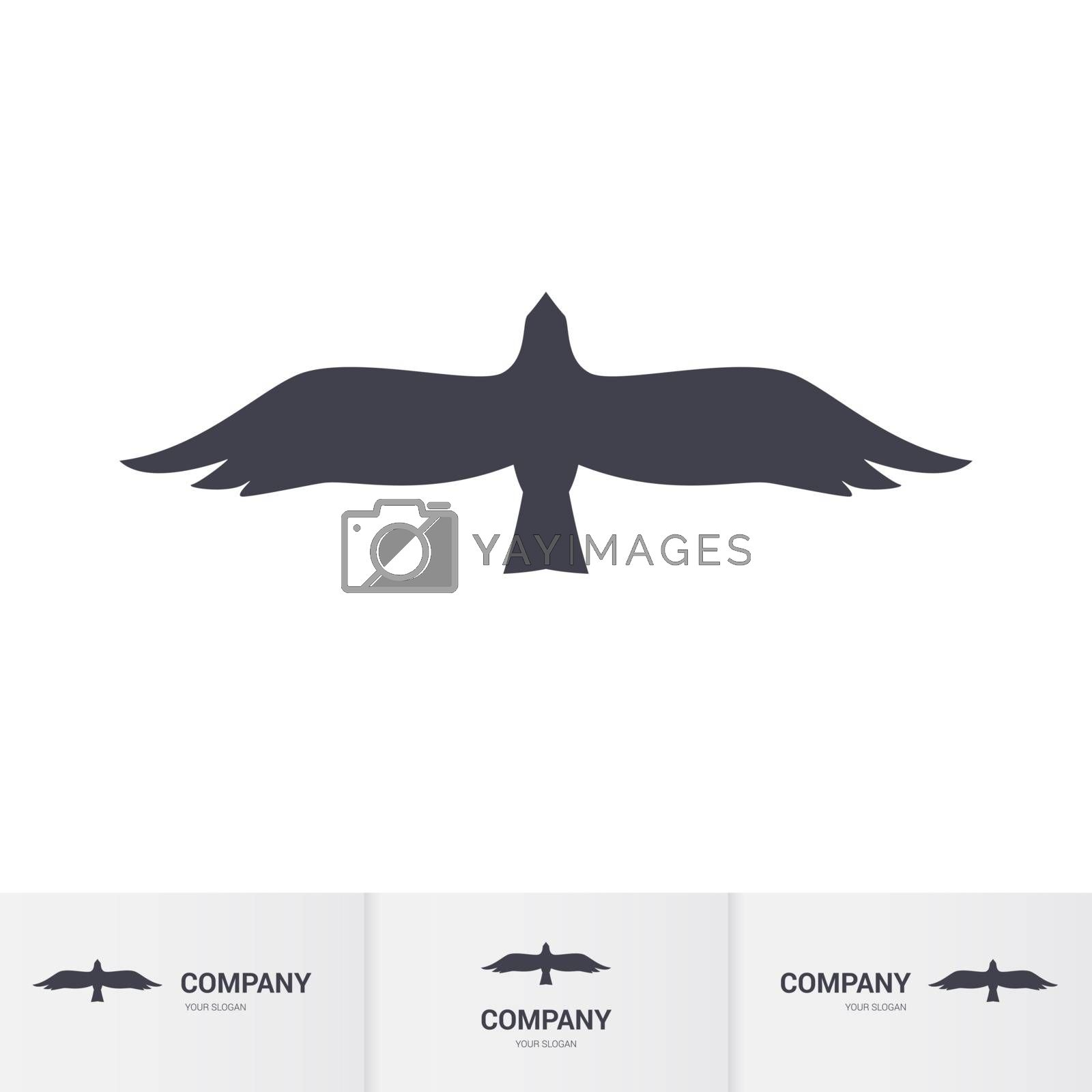 Simple Dark Bird of Prey for Mascot Logo Template on White