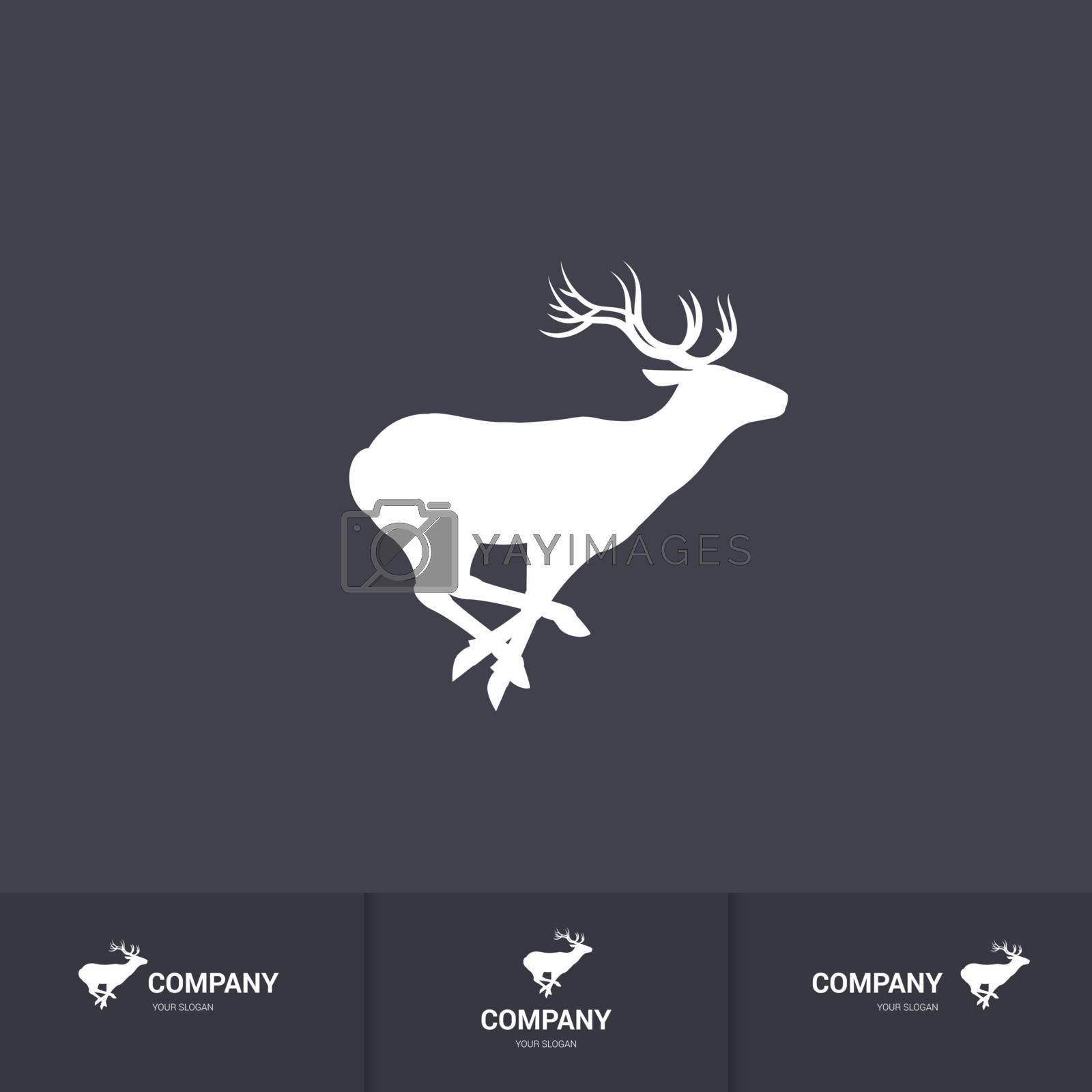 Running Horned Deer Silhouette for Logo Template on Dark Background