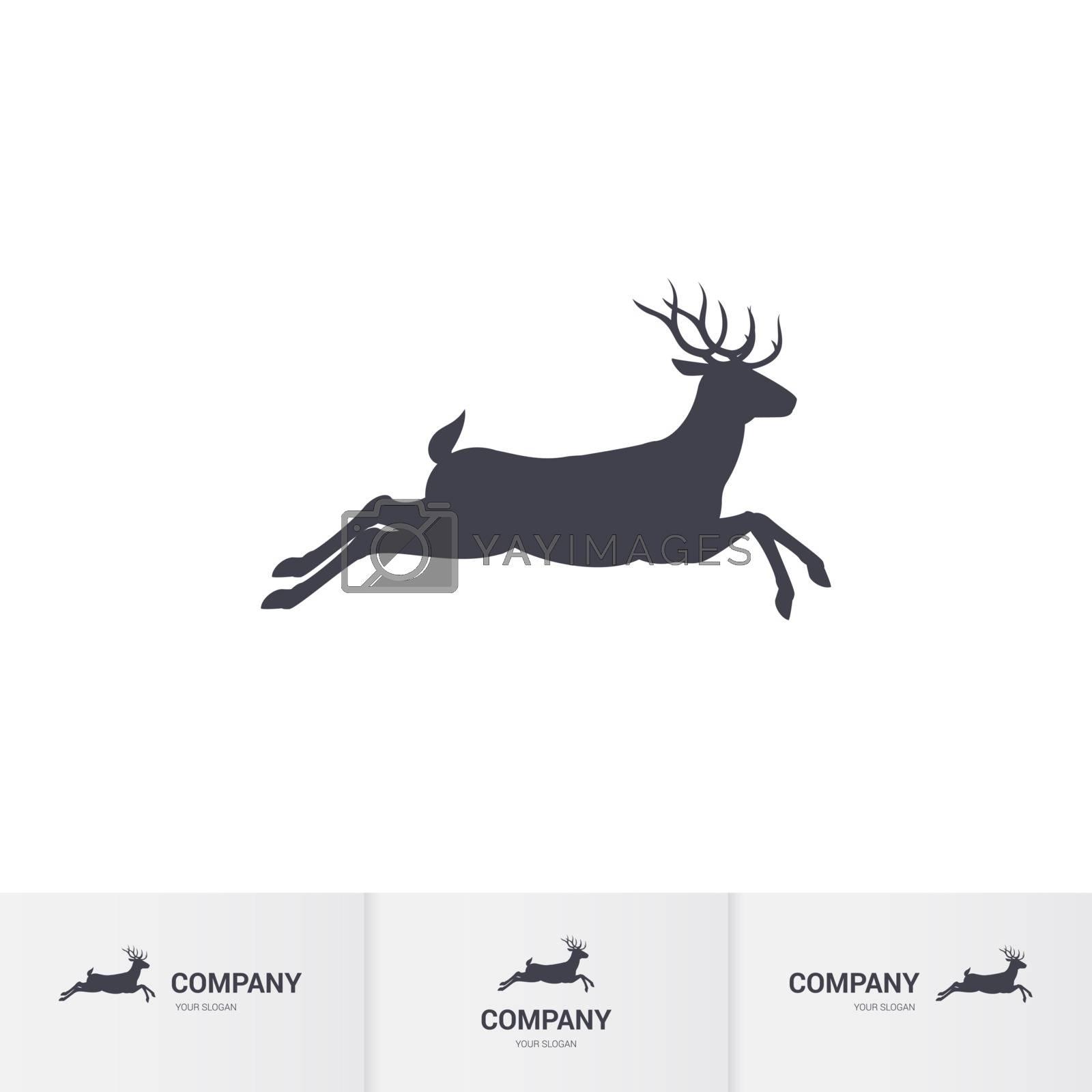 Illustration of Running Horned Deer Silhouette for Mascot Logo Template on White