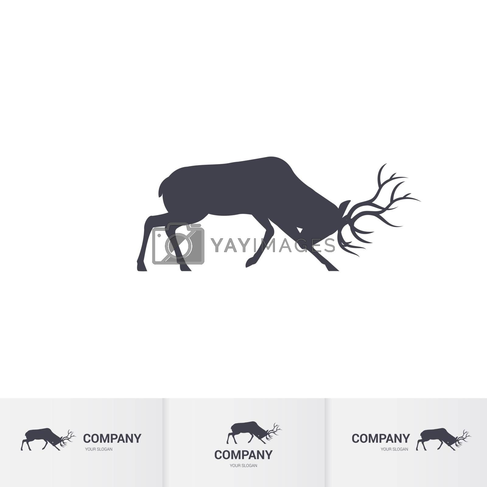 Simple Horned Deer Silhouette for Mascot Logo Template on White Background