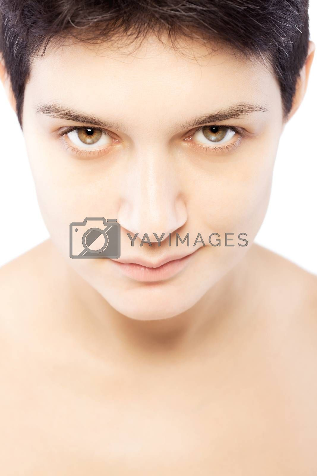 girl with a short hair looking at camera, positive expression