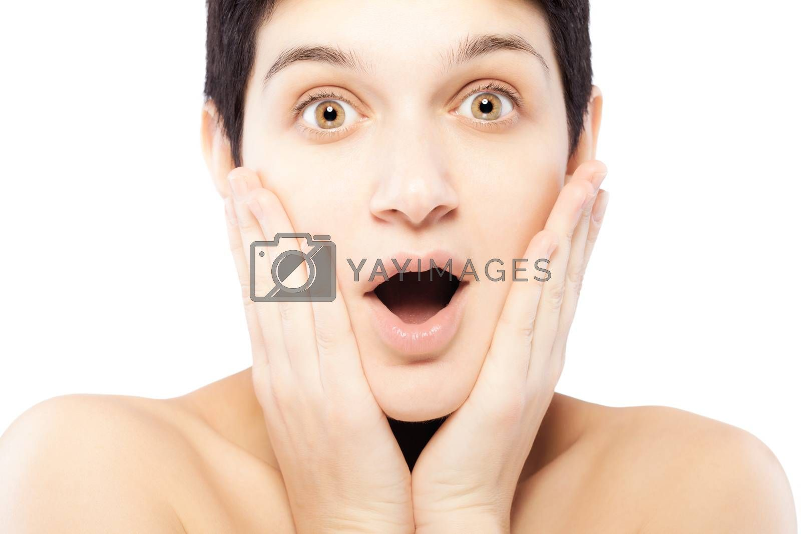 girl with a short hair making surprised expression