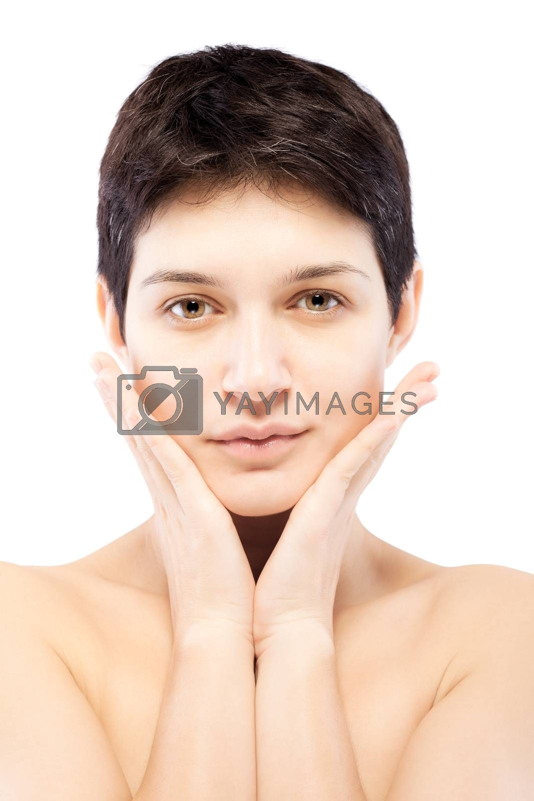 girl with a short hairtouching her face