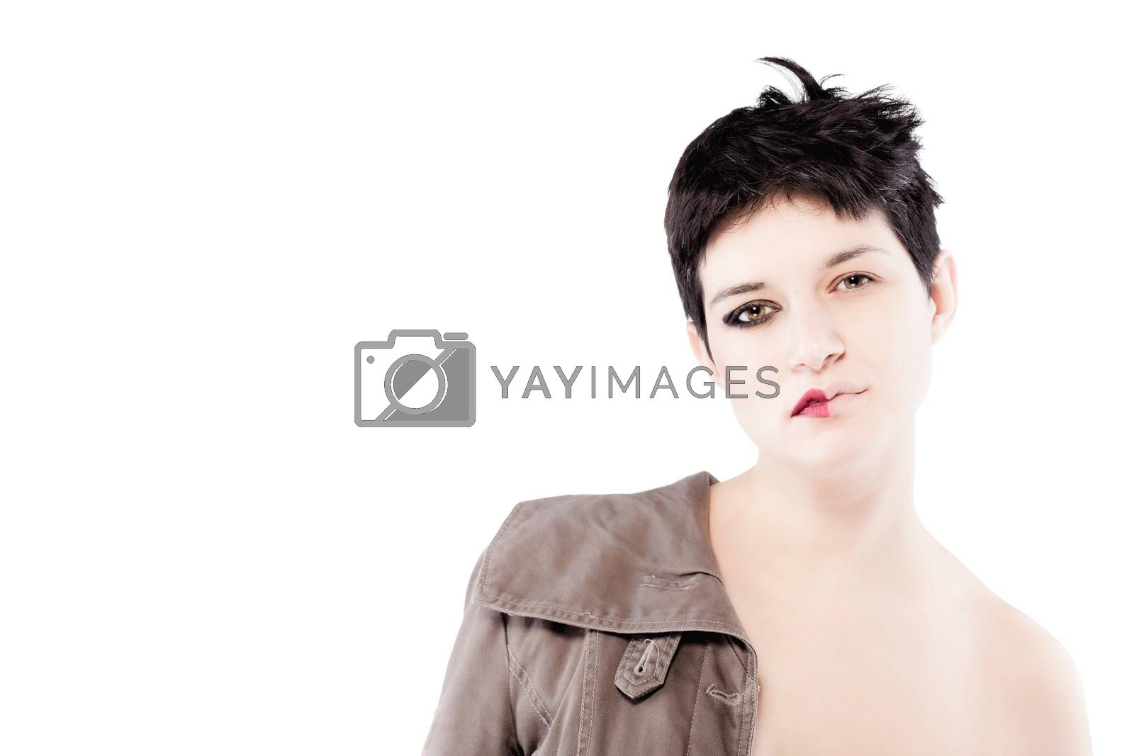 girl with a short hair, having half her face with make up
