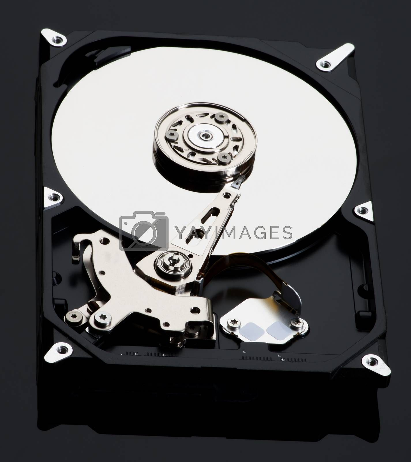 Opened Computer Hard Disk Drive isolated on Black background
