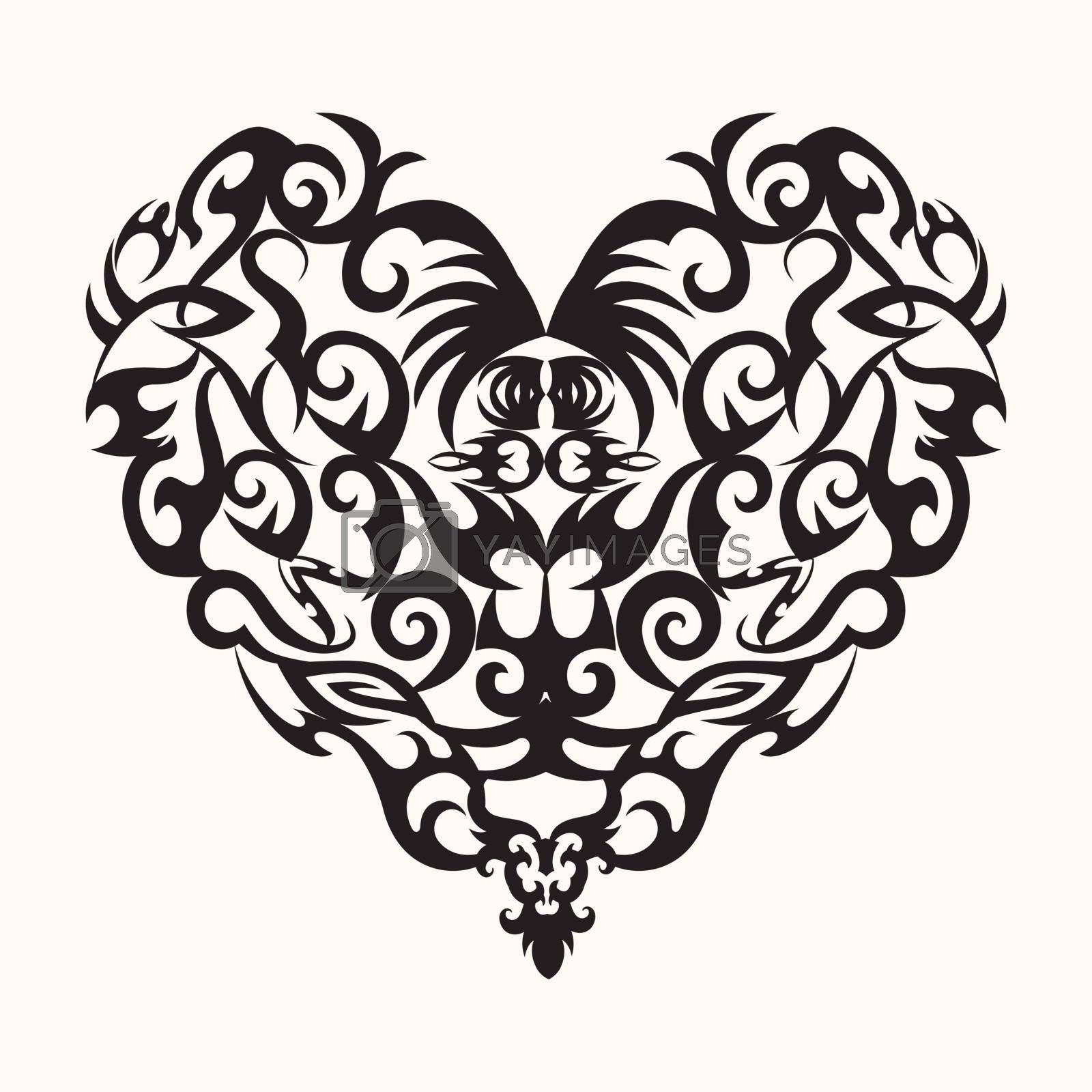 Vector  isolated black creative design heart tattoo in white background