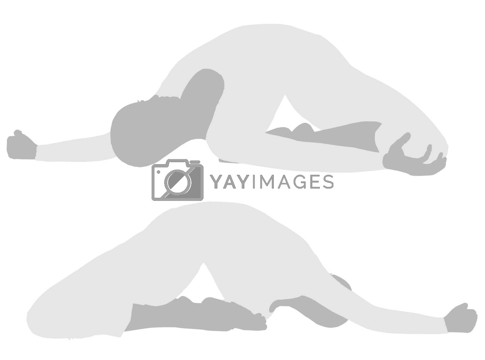EPS 10 vector illustration of woman silhouette in Collapsed Backwards Pose
