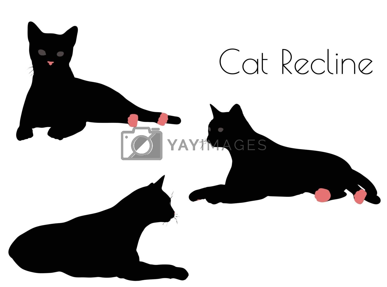 EPS 10 vector illustration of cat silhouette in Recline Pose