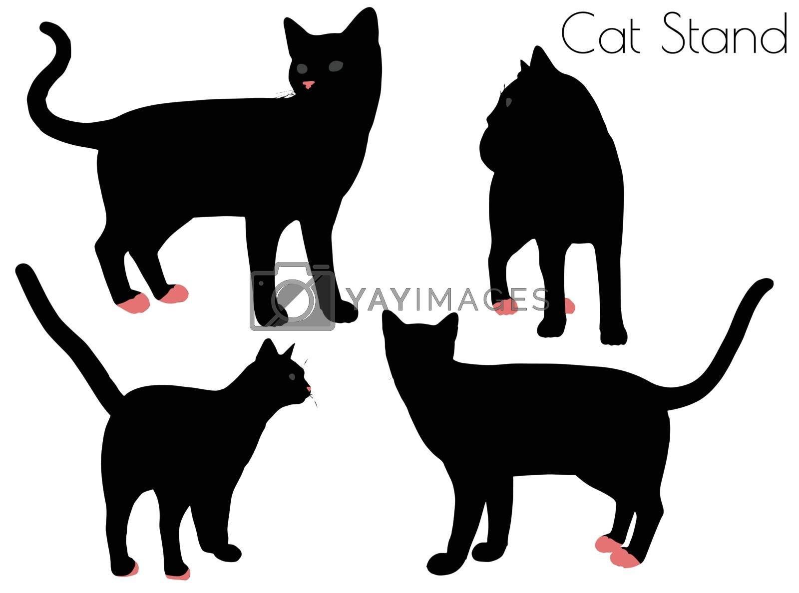 EPS 10 vector illustration of cat silhouette in Stand Pose