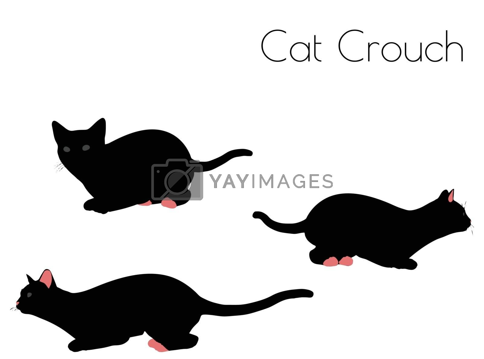 EPS 10 vector illustration of cat silhouette in Crouch Pose