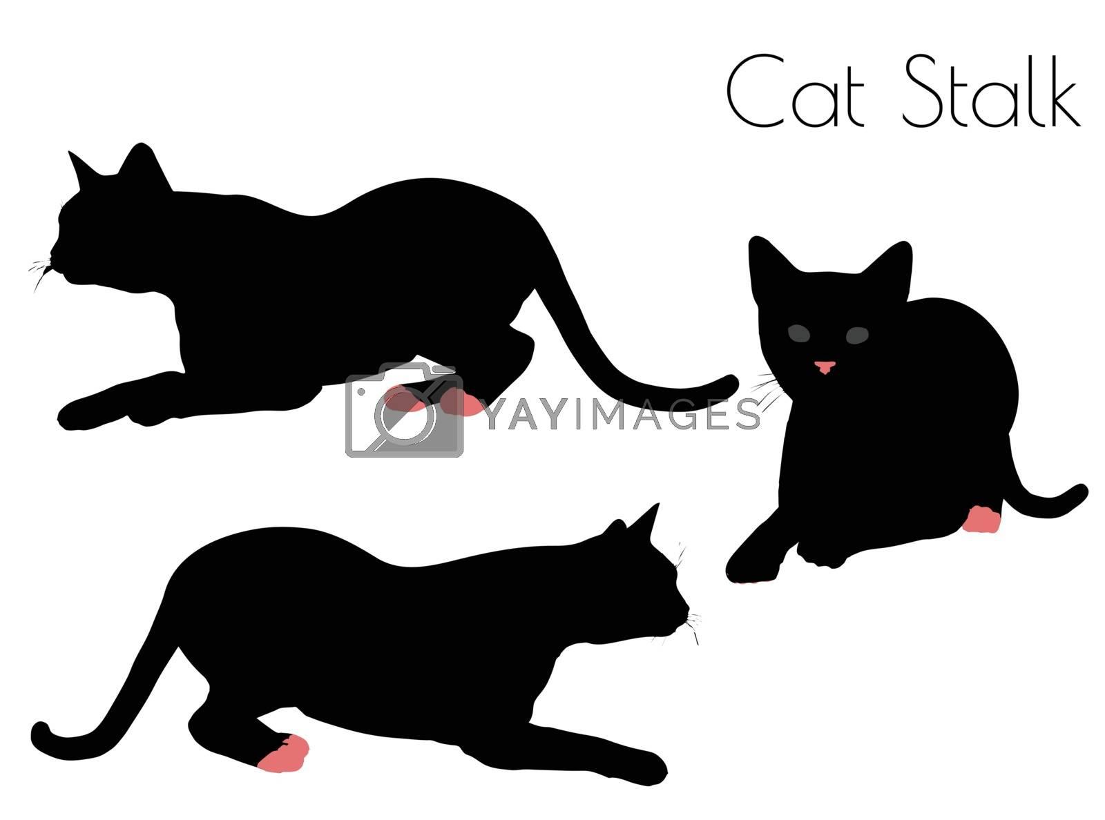 EPS 10 vector illustration of cat silhouette in Stalk Pose