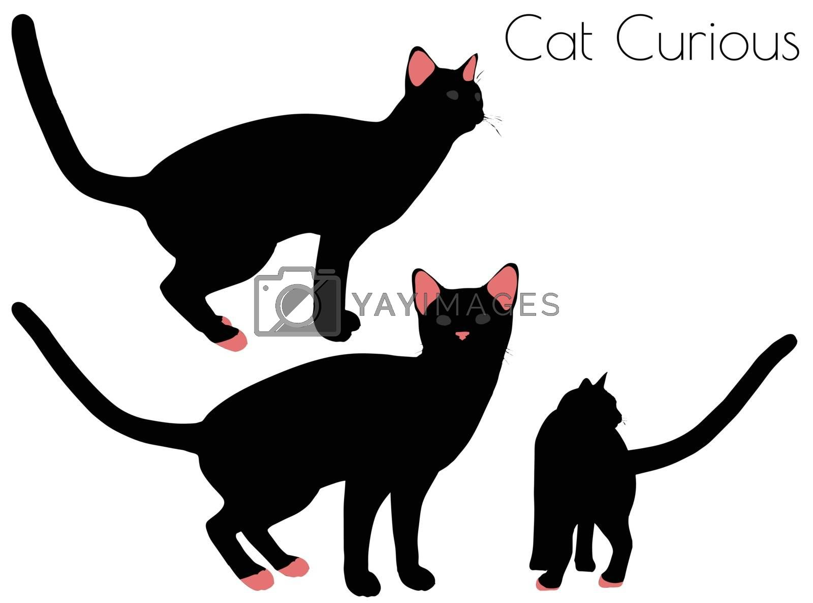 EPS 10 vector illustration of cat silhouette in Curious Pose