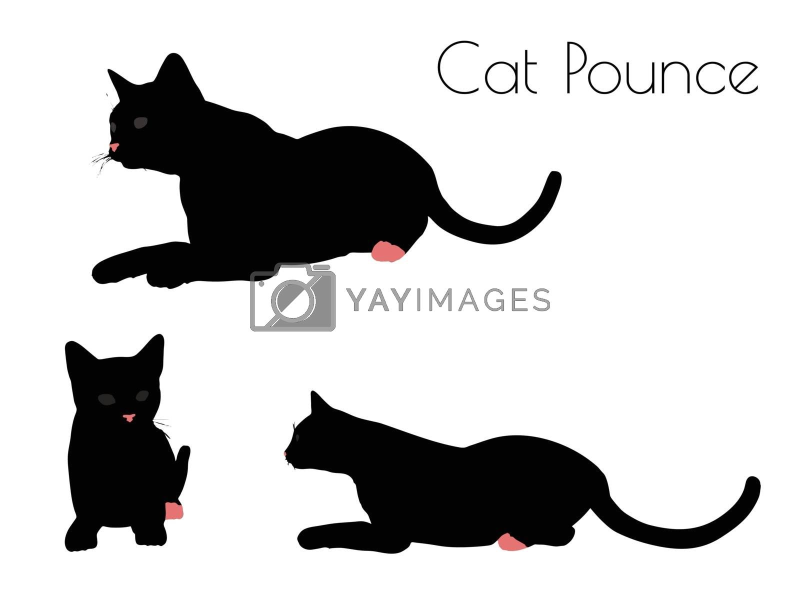 EPS 10 vector illustration of cat silhouette in Pounce Pose