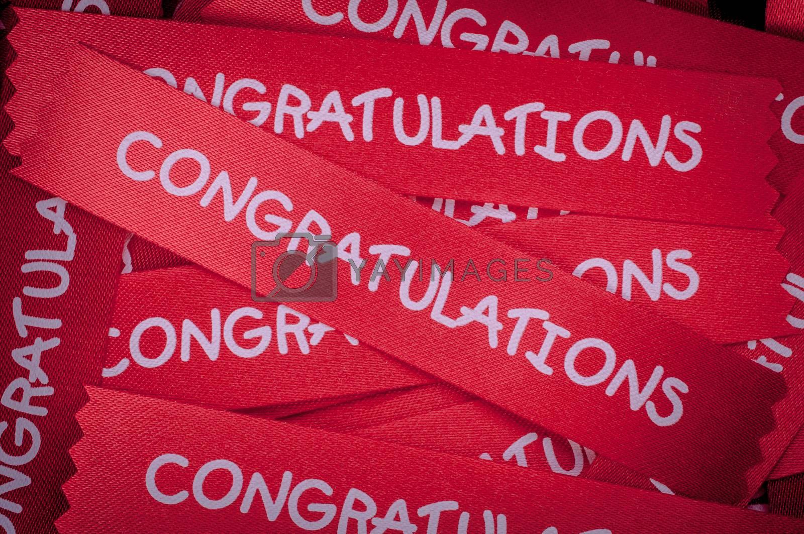 congratulation ribon for background