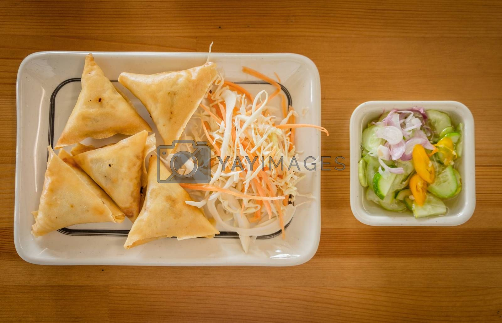 vietnamese food on wood background.