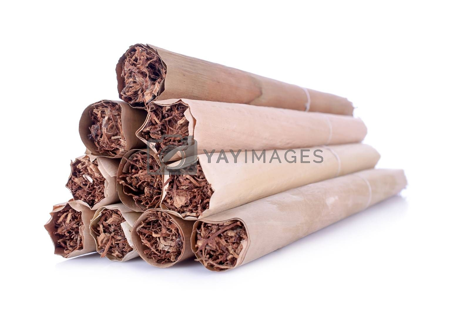 Thai cigars close up on background