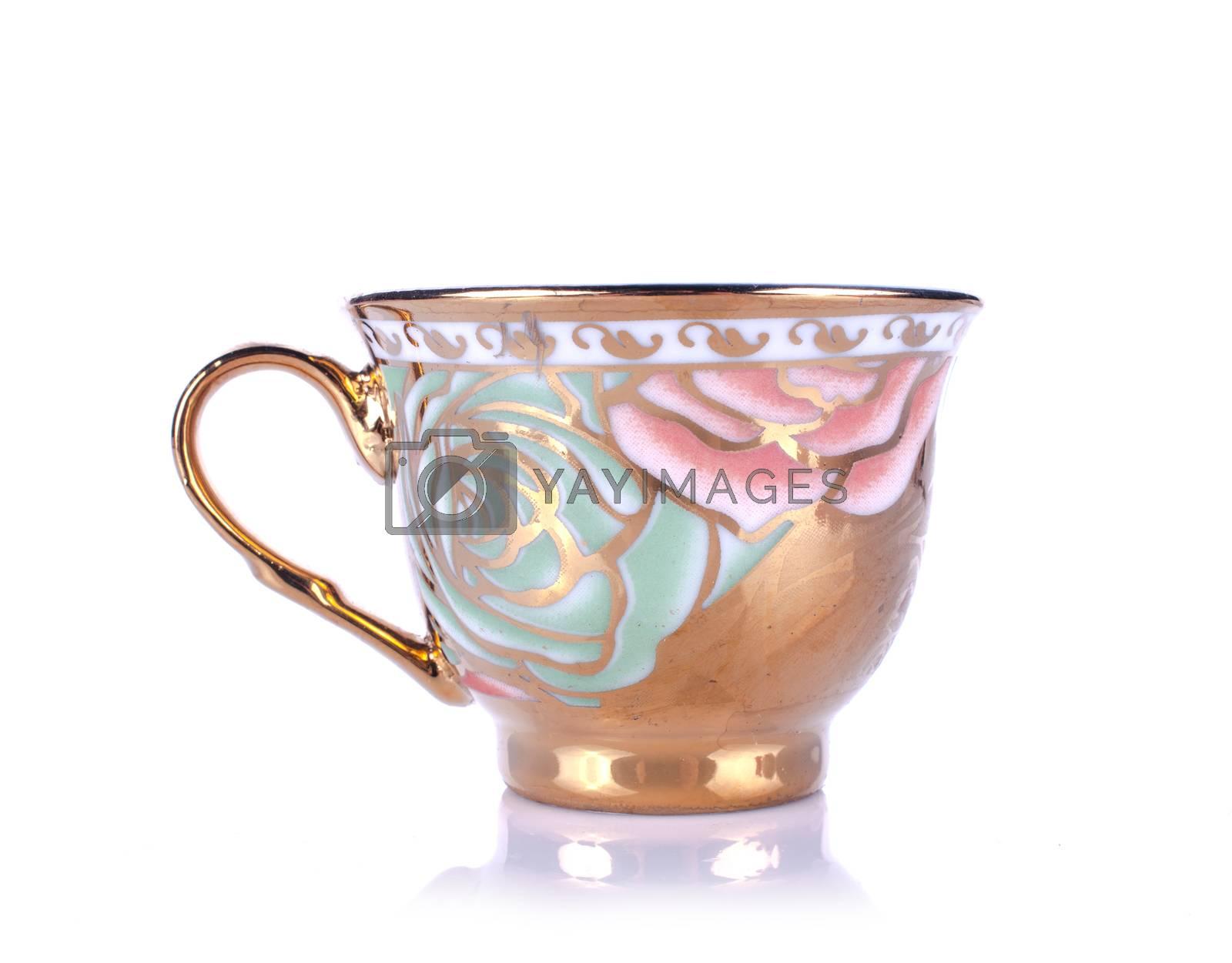 tea sets close up isolated on white background
