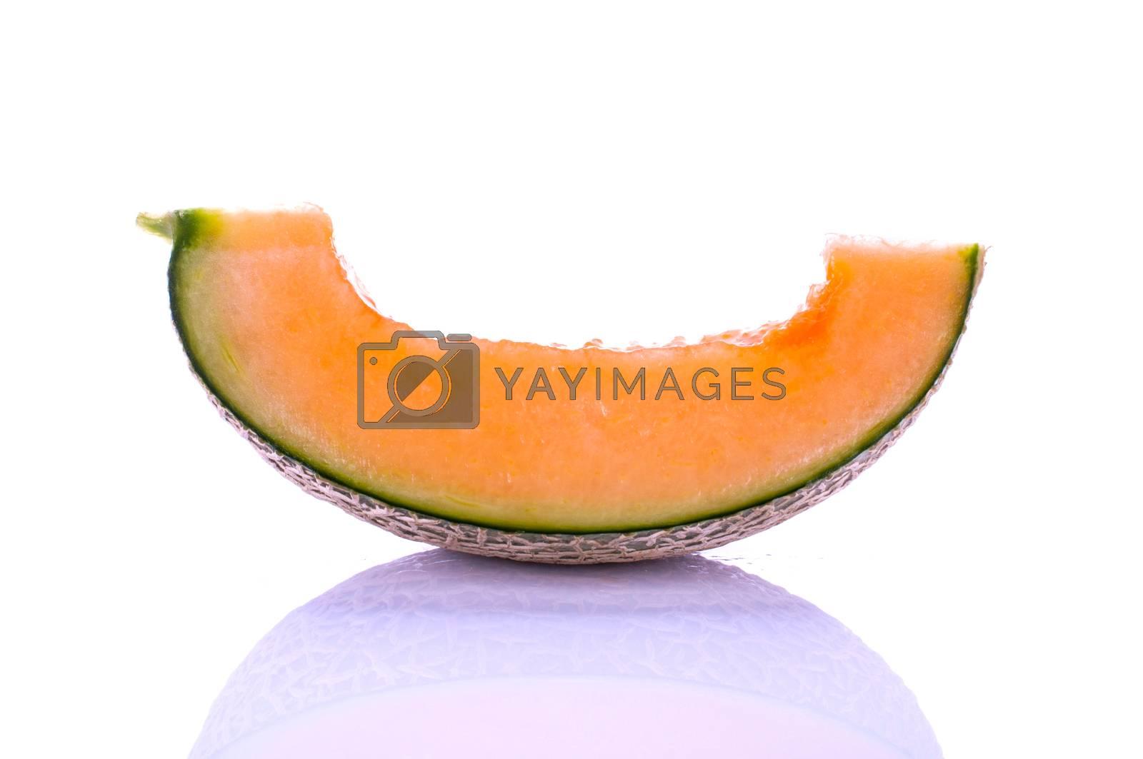 cantaloupe close up isolated on white background
