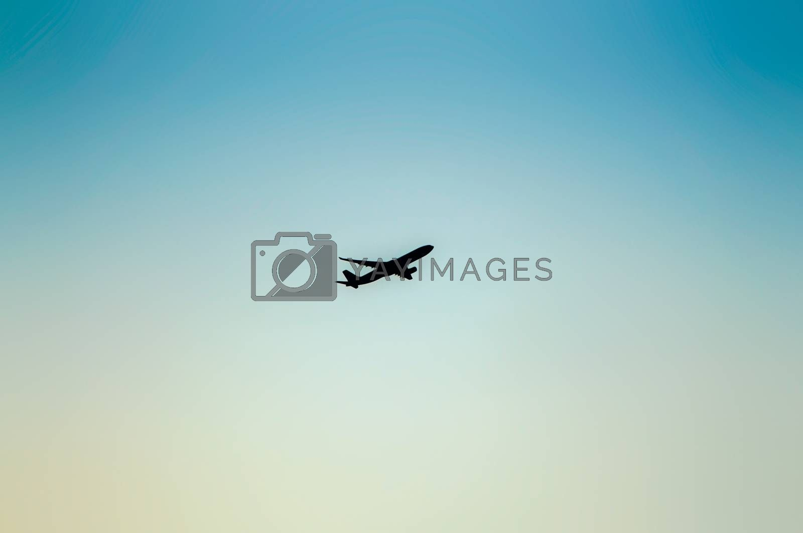 airplane on sky background.