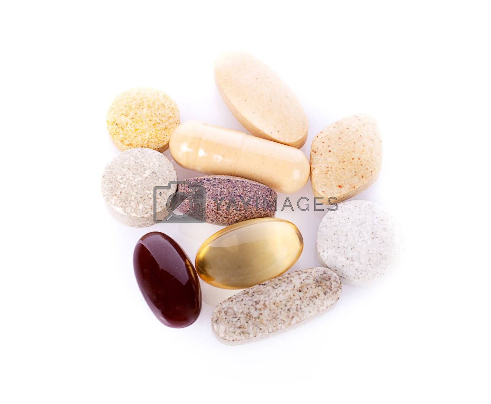 Herbal drugs capsules isolated on white.