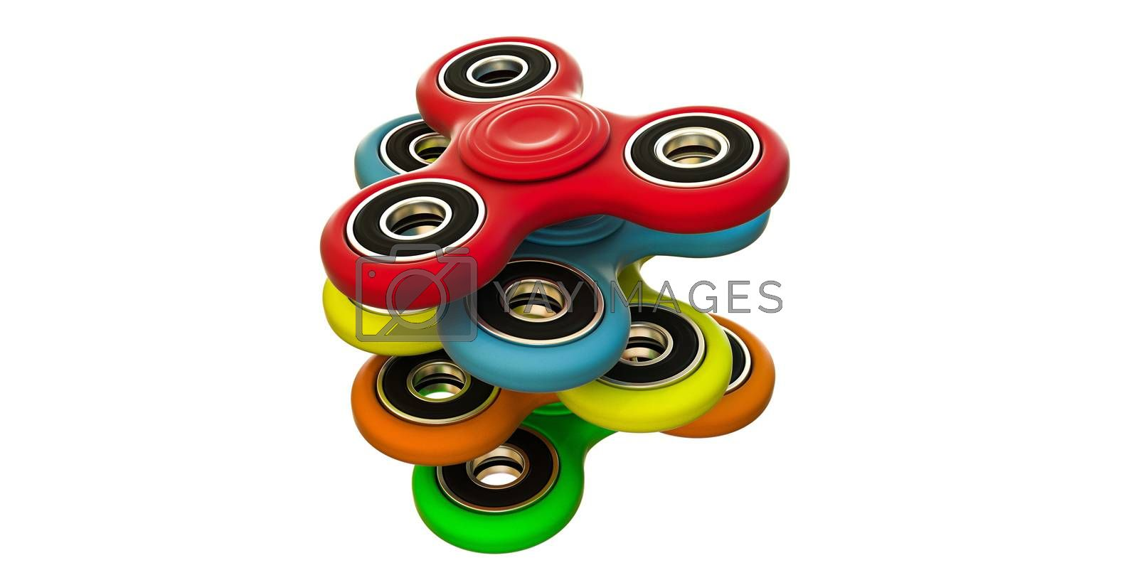 3d illustration of fidget spinners isolated on white background