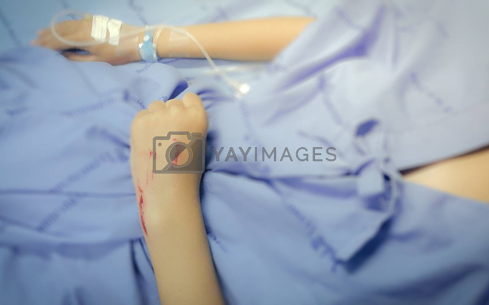 saline solution drip for patient and infusion pump in hospital