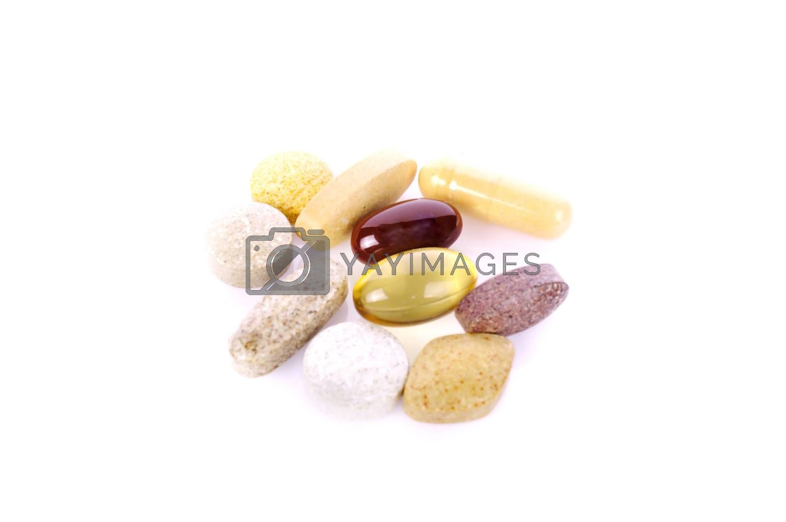 drugs capsules isolated on white.