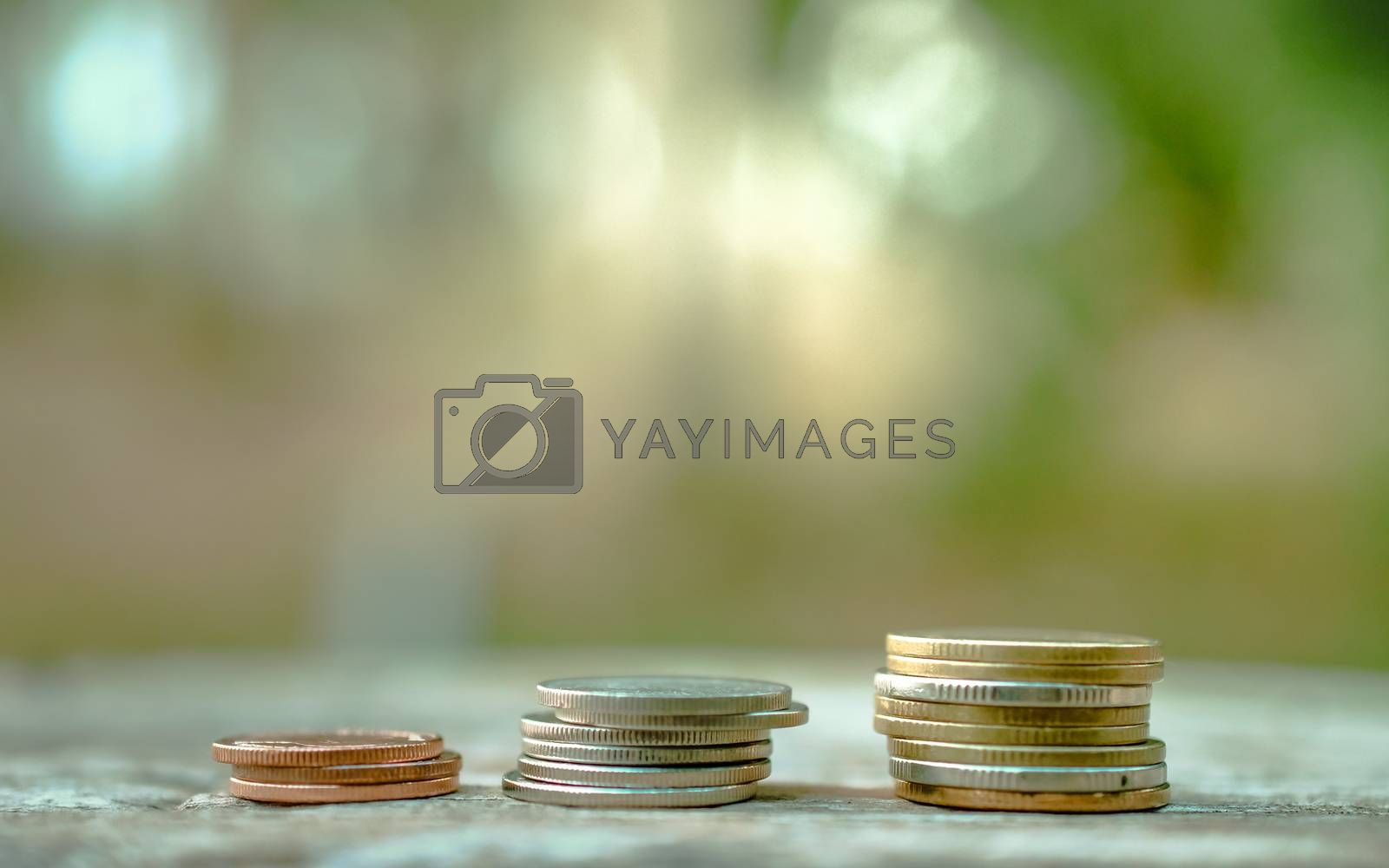 money coins strack keep by step close up