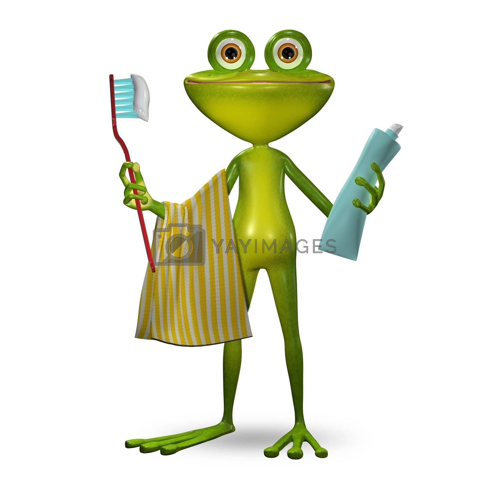 3d Illustration Frog with Toothpaste Cleans Teeth