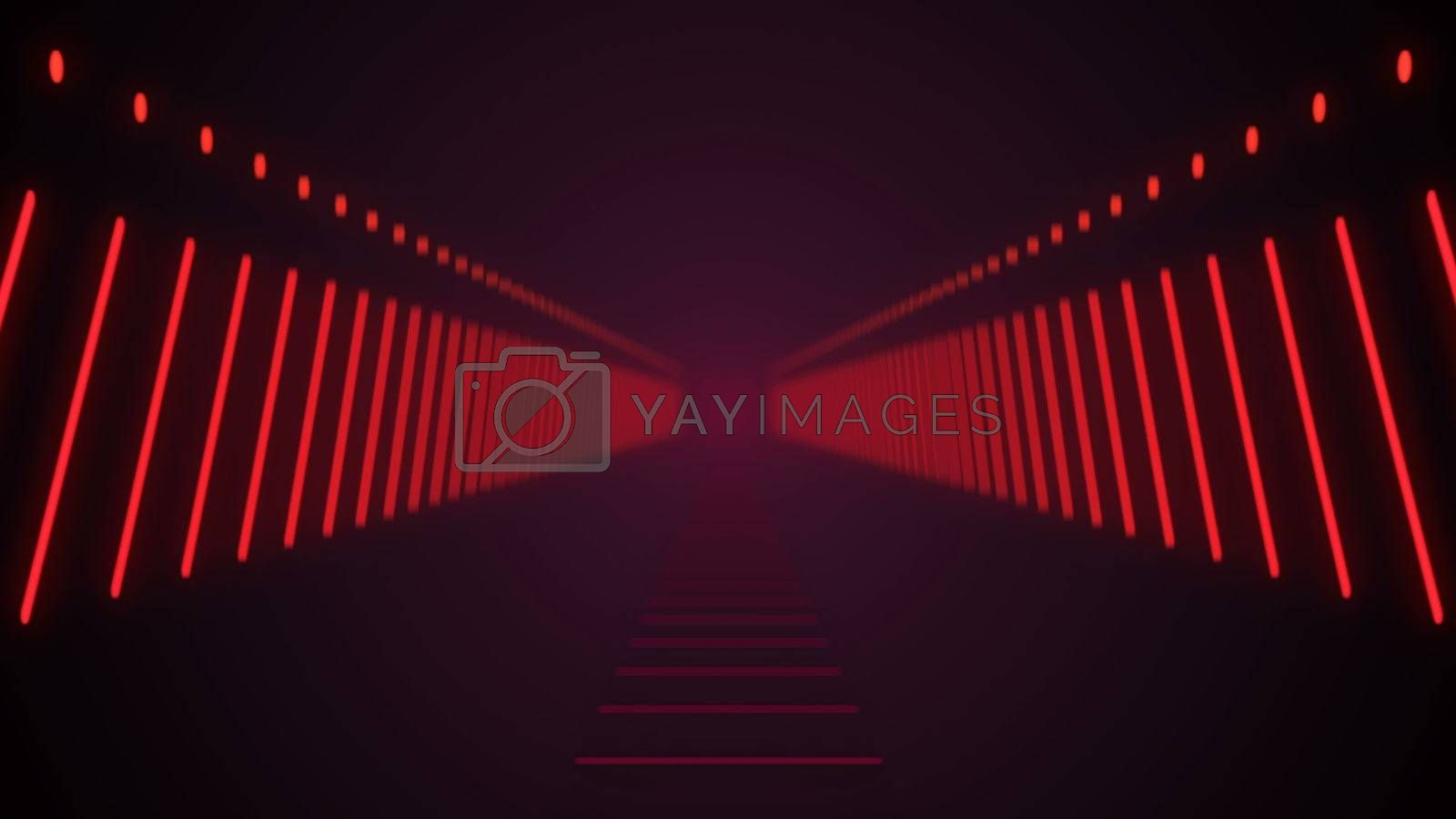 Abstract background with technology tunnel. 3d render