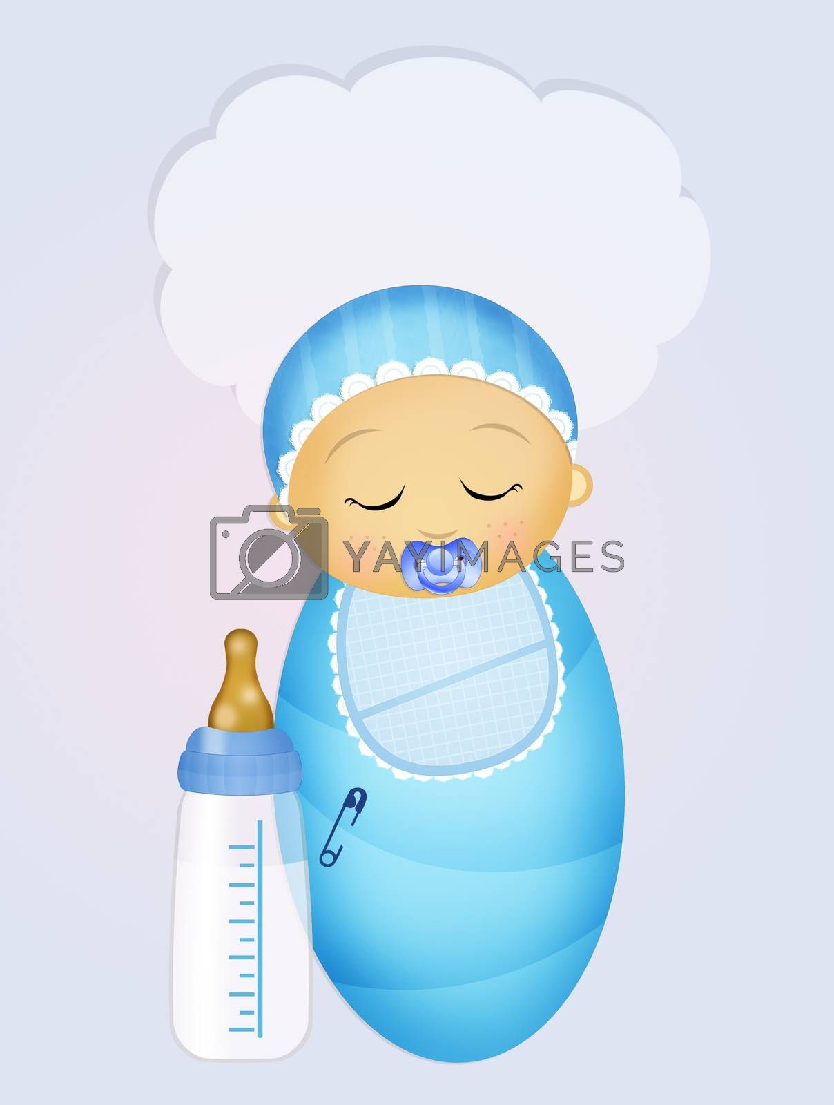 illustration of baby with baby bottle