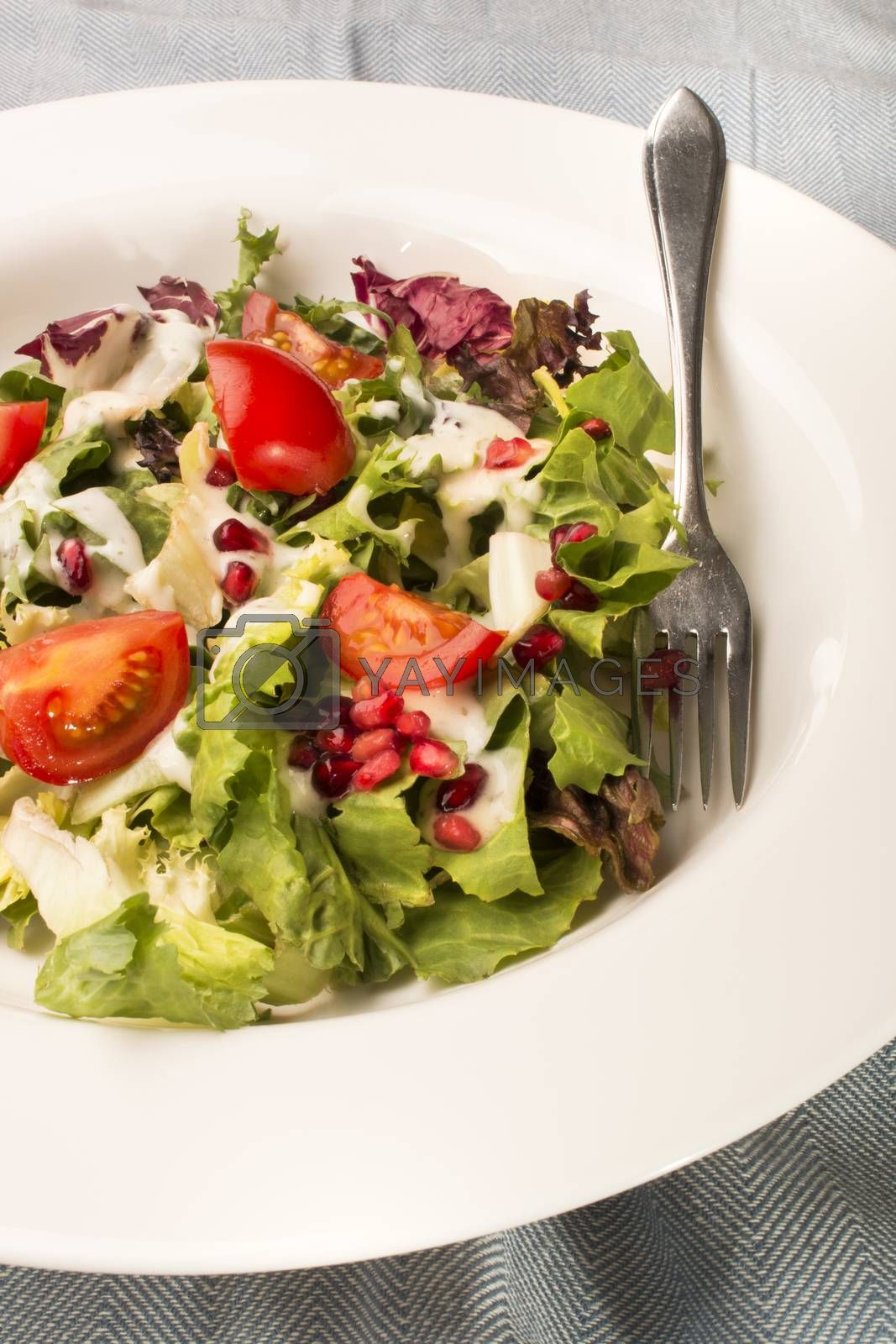healthy salad with garlic cream sauce and fork