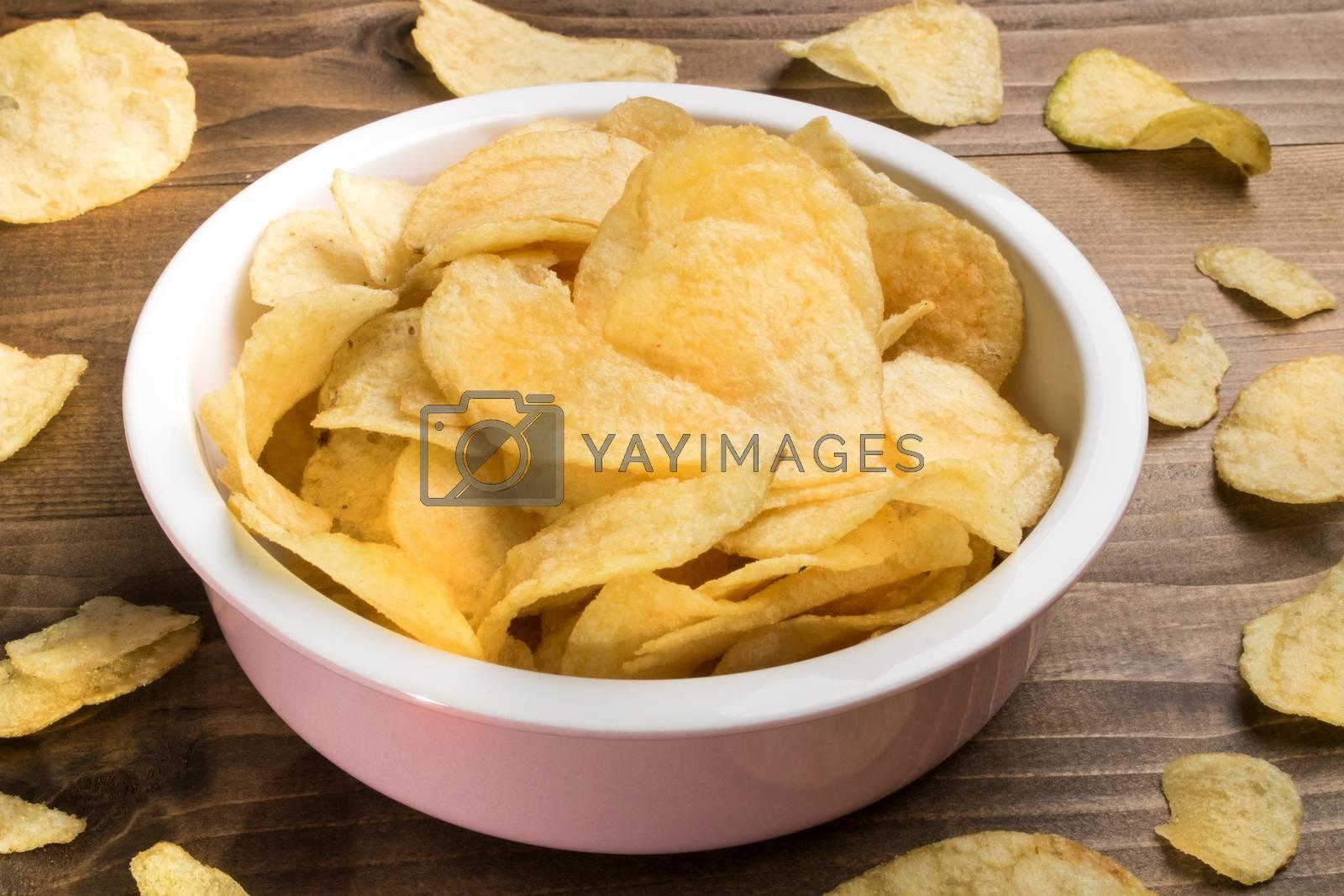 home made potato crisps in a bowl