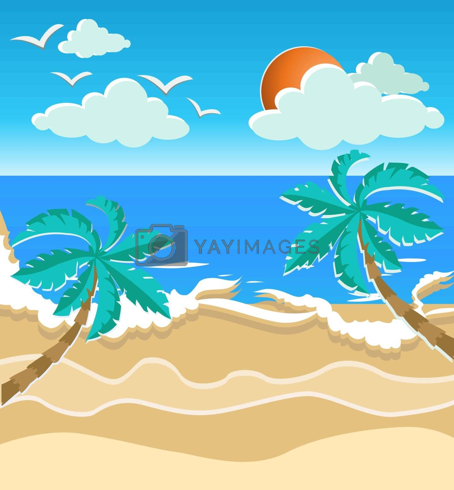 illustration of the sea, sun and palm on the beach. Paper art style. Summer time card