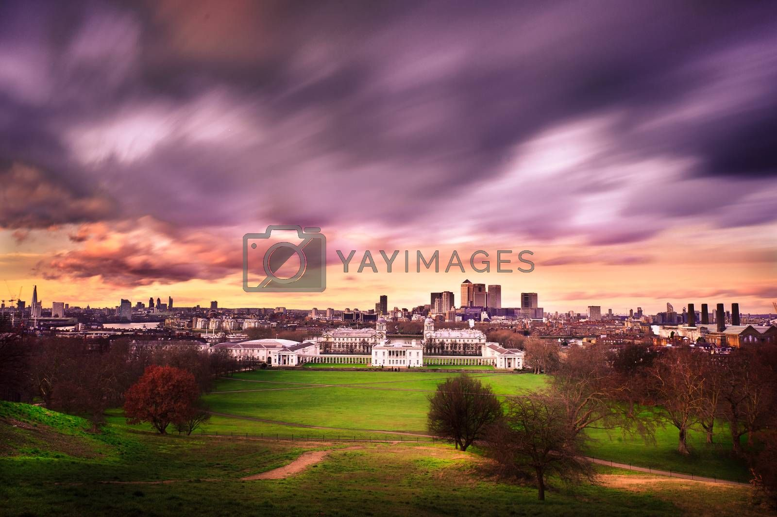 Cityscape view from Greenwich hill of London, England, UK